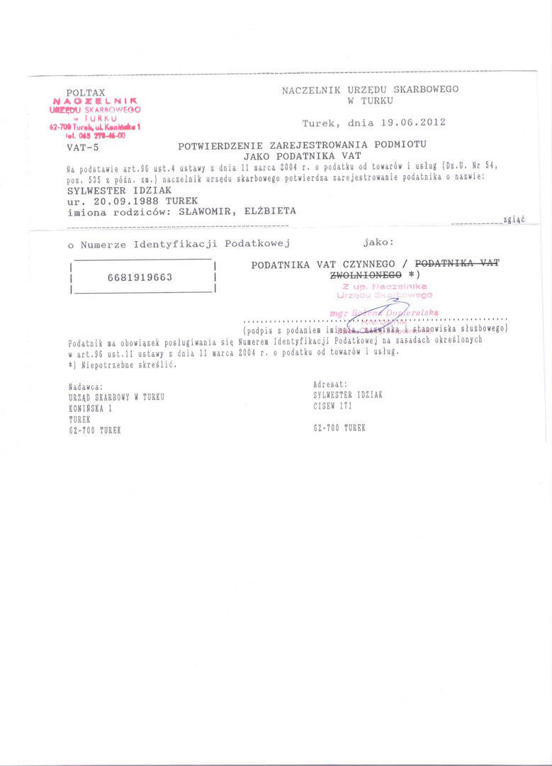 Rejestracja płatnika VAT