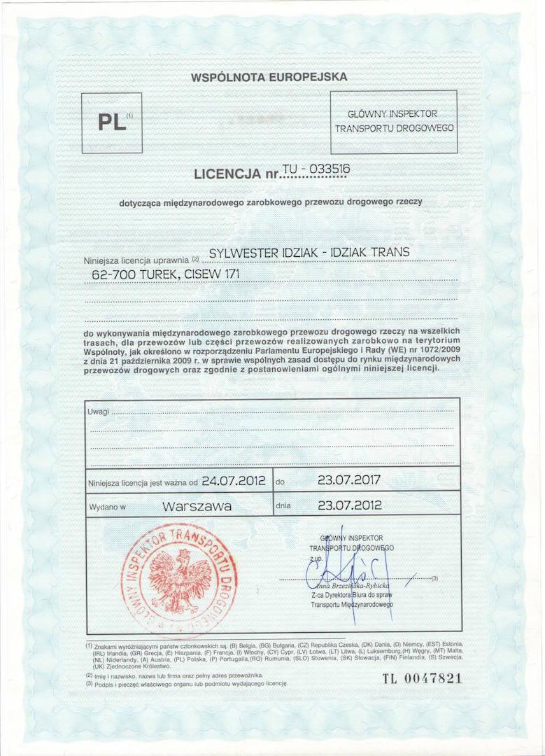 Licencja na międzynarodowy przewóz